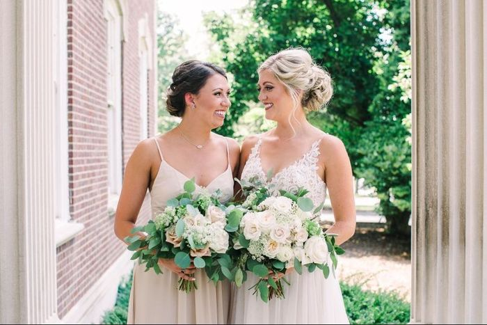 Maid of Honor with Bride on Wedding Day