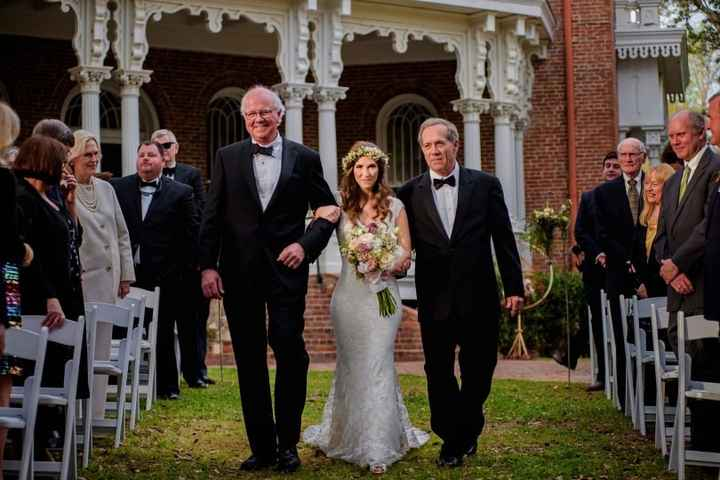 Bride Walking Down the Aisle With Step-Father and Father