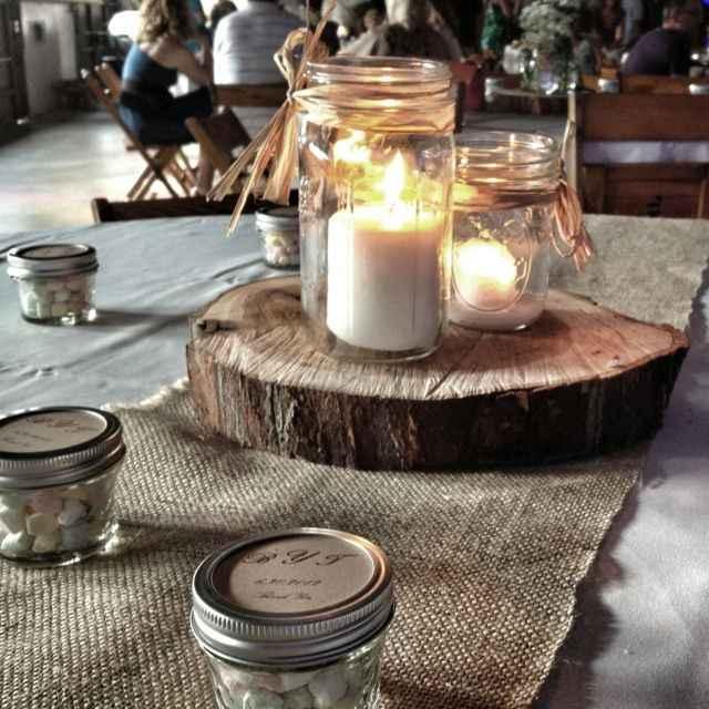 Candle Centerpieces - Mason Jars on Wood