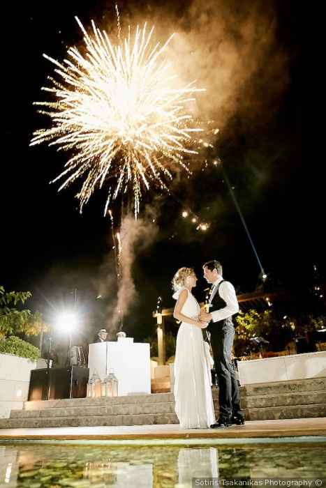 Bride and Groom Dancing, Fireworks, Dancing