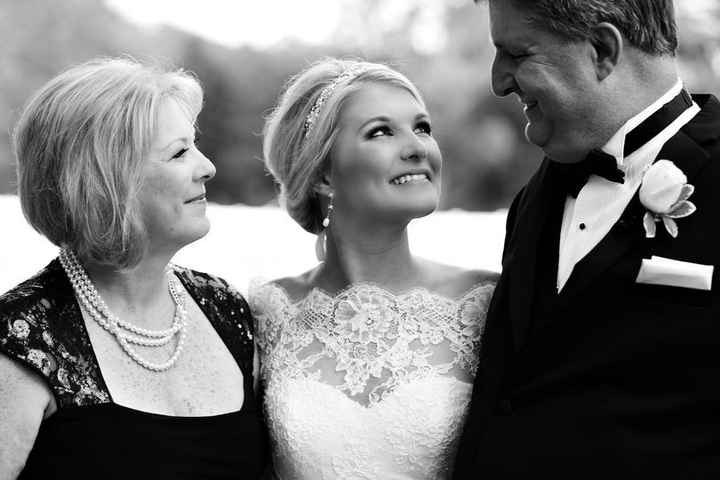 Brides with her parents on wedding day
