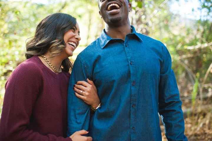 Engagement Pictures, Laughing Together in the Woods