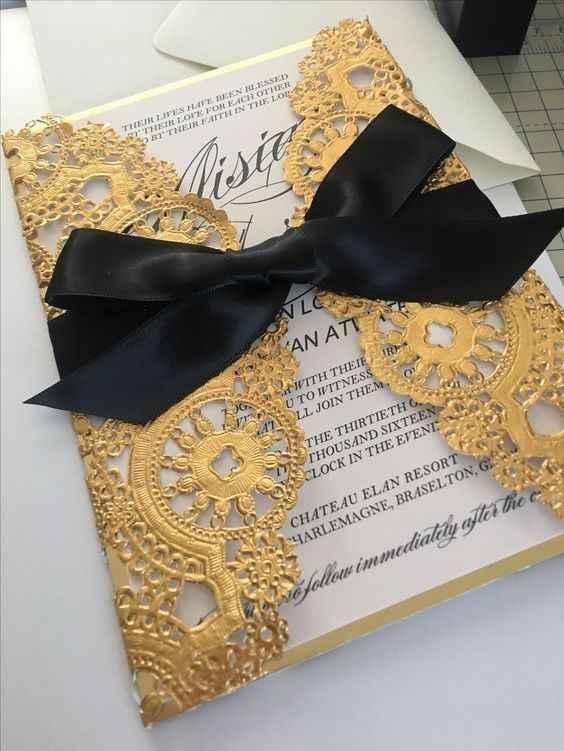 Gold and black masquerade invitation
