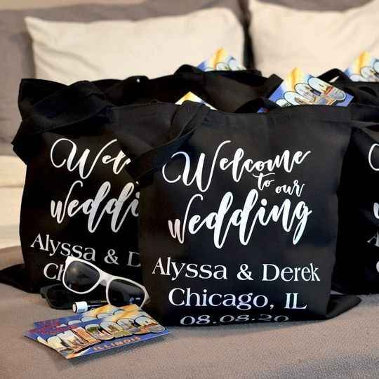 Black canvas wedding welcome bags