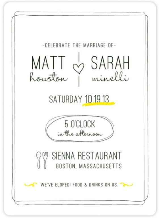 Tongue in cheek marriage announcement and reception invitation