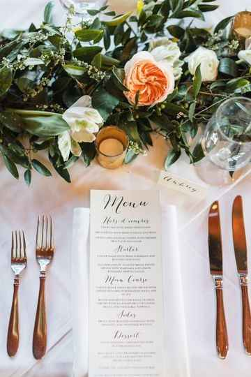 Rectangular menu at place setting during reception