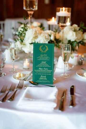 Green table top menu