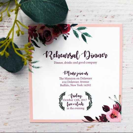 Pink and red floral rehearsal dinner invitation
