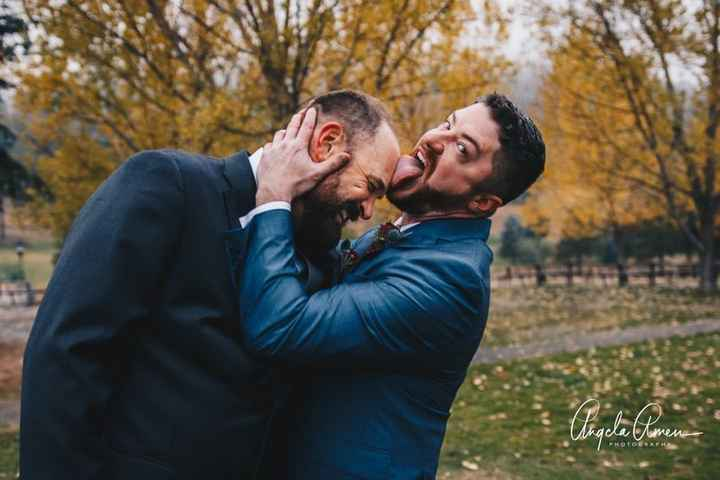Half of couple licking their partner