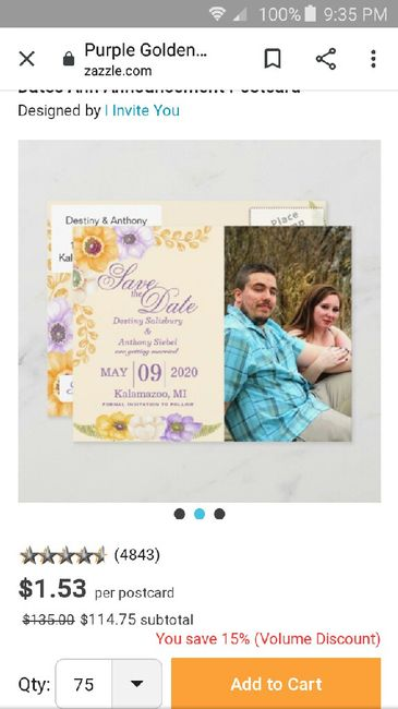 How many pictures did you use on your Save the Dates? 1