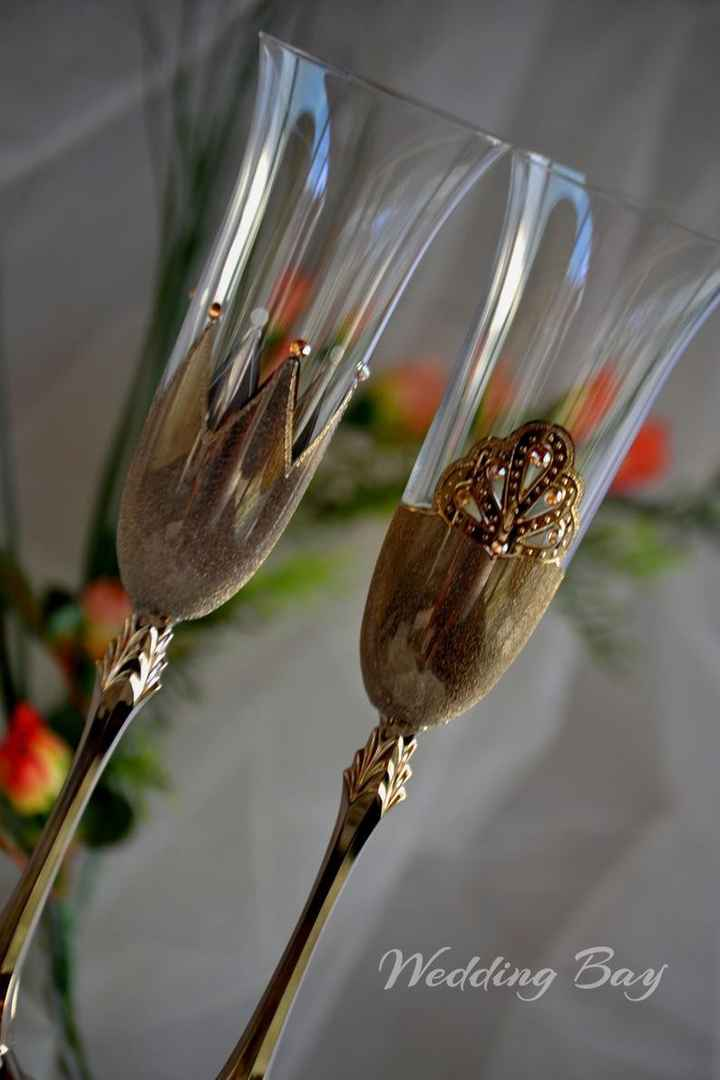 Customized Champagne Flutes/cake Knife - 1