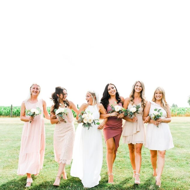 Bridesmaids: different styles in a few different shades 8