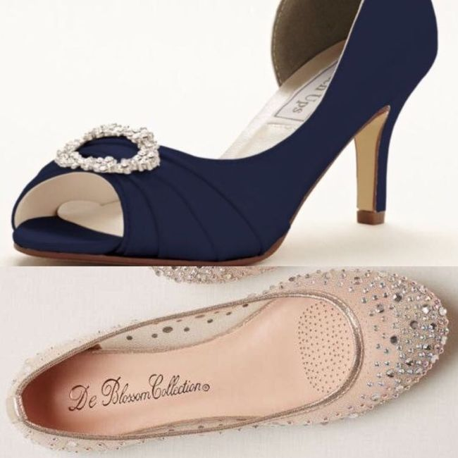 50bda7a9968 I got both of these from David s Bridal online. The blue heels were  dyeables