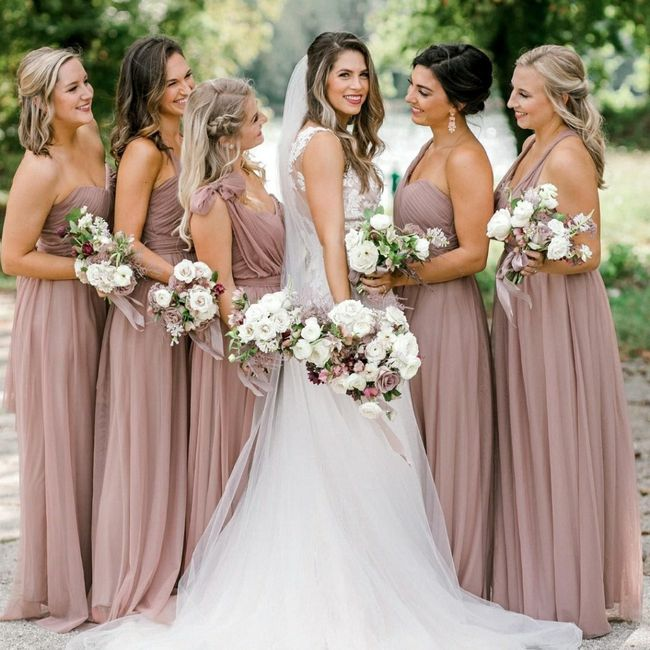 What color Bridesmaid Dresses would work best with my gown? 2