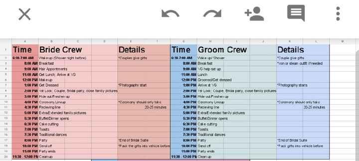 Reception Timeline help - 1