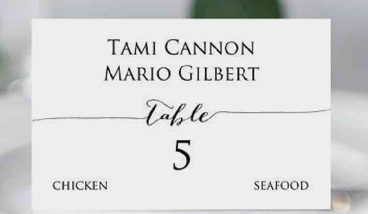 Differentiating Escort Cards for Entree Selection - 2