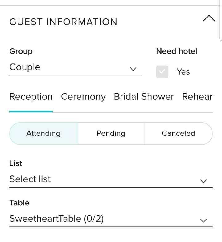 Can you mark guests as attending or not via the guest list on this app? - 1