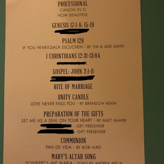 What goes on a program for a Catholic non-mass ceremony