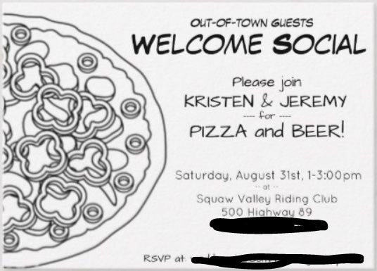 Out-of-town guests welcome party/social/meet&greet 2