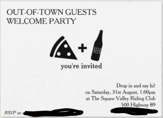 Out-of-town guests welcome party/social/meet&greet 1