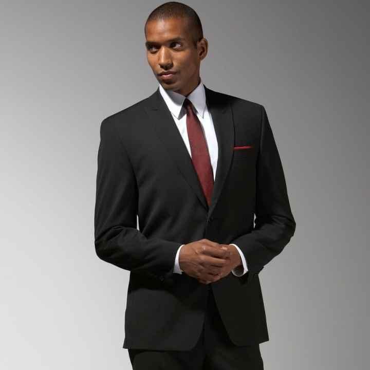 Black suit, Burgundy tie