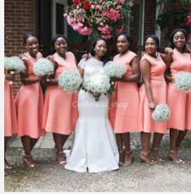 Knee length wedding dress... what to do for bridesmaids? - 1