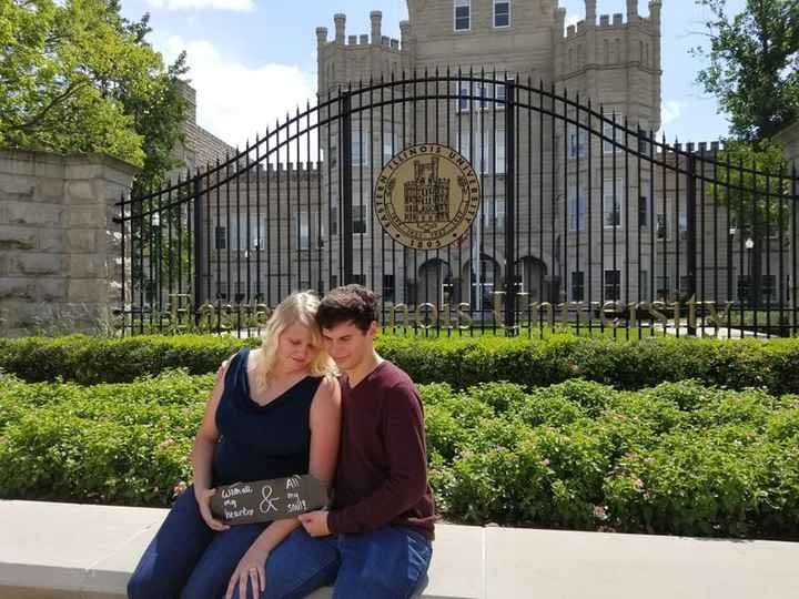 Engagement photo at the front of our college