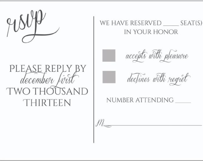 "Honor Vs Honour Wedding Invitation: RSVP's And Those Who Used ""Number Of Seats Reserved In"