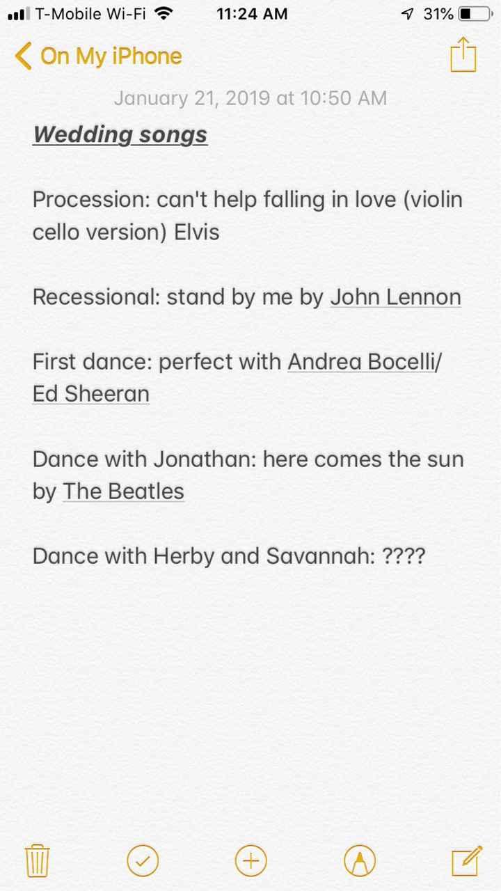 Song list so far!! - 1