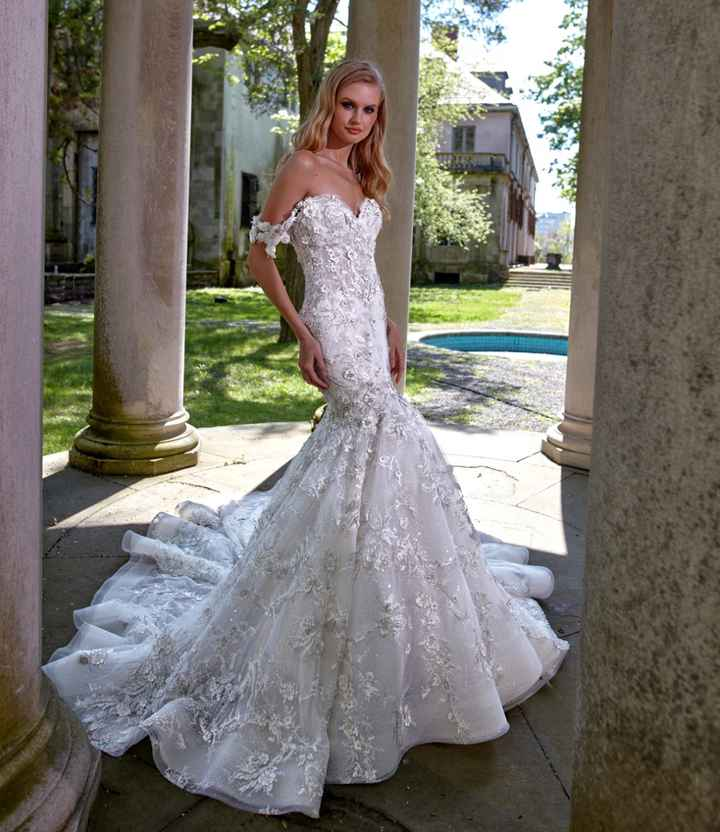 Wedding dress with draped sleeves and straps - 1