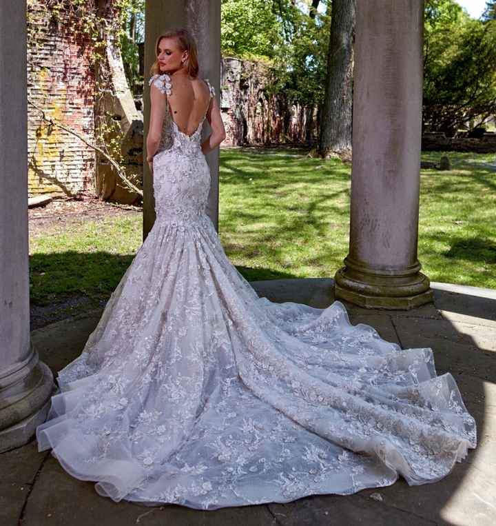 Wedding dress with draped sleeves and straps - 2