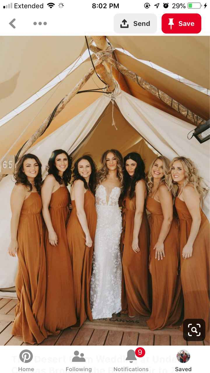 Where to Get Dusty Orange Bridesmaids Dresses - 1