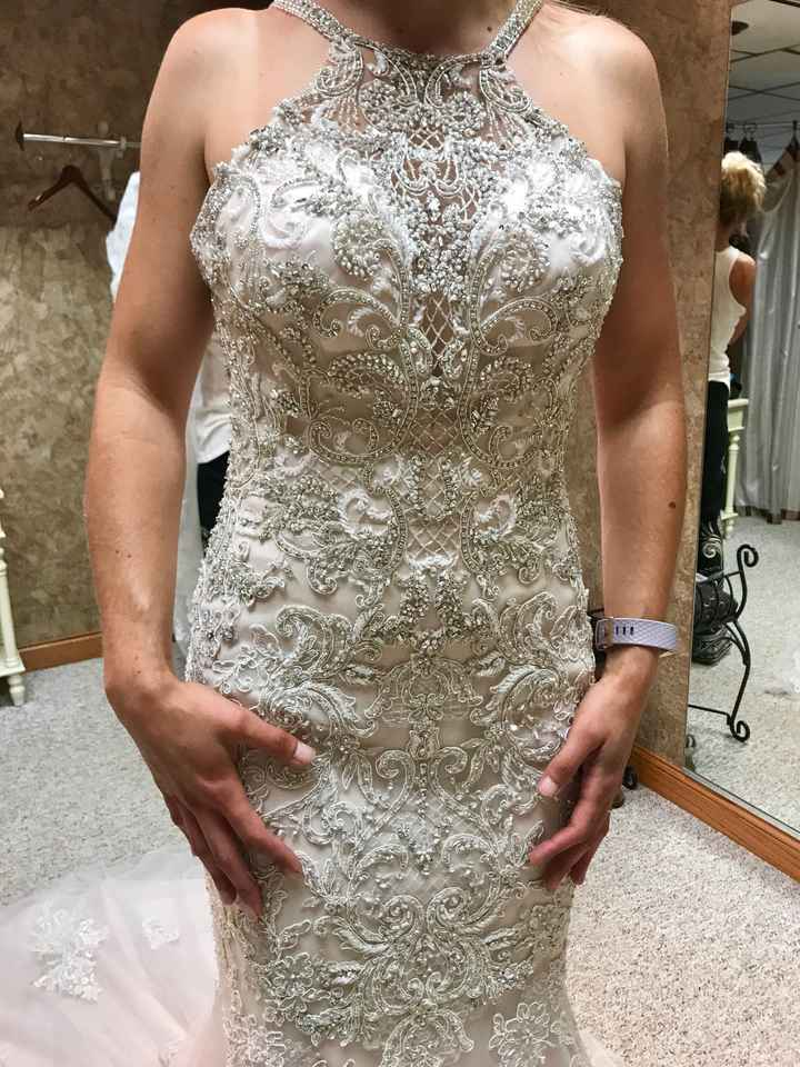 Does your wedding dress have lace, beading, or both? - 1