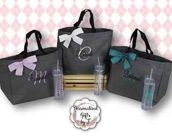 Personalized Tote and Tumbler (NO MOH or Bridemaid) Simply your name & initial
