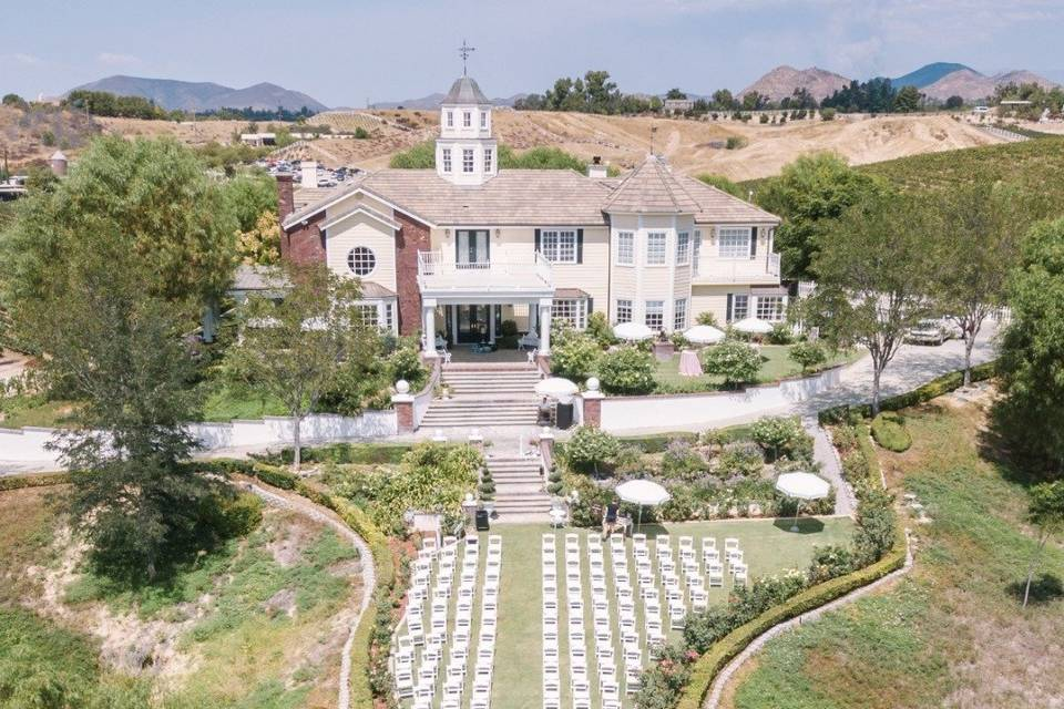 Arial view of ceremony area
