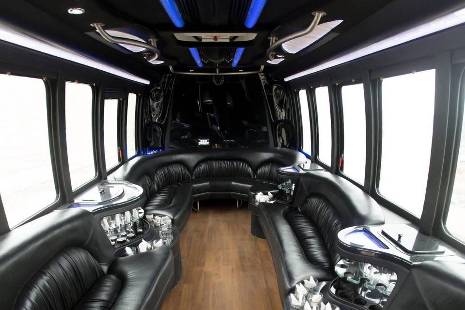 Sleek interior with blue lights