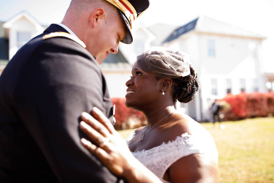 Military wedding first look