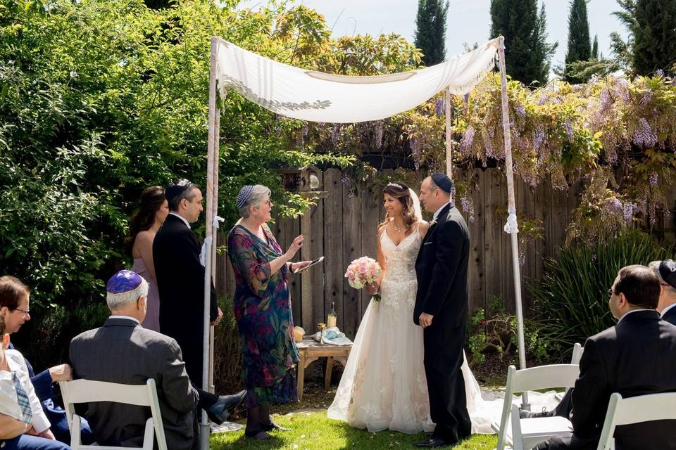 Beth & ken at a private home in napa, using my chuppah and tallit. Love the wisteria in bloom. April 2017