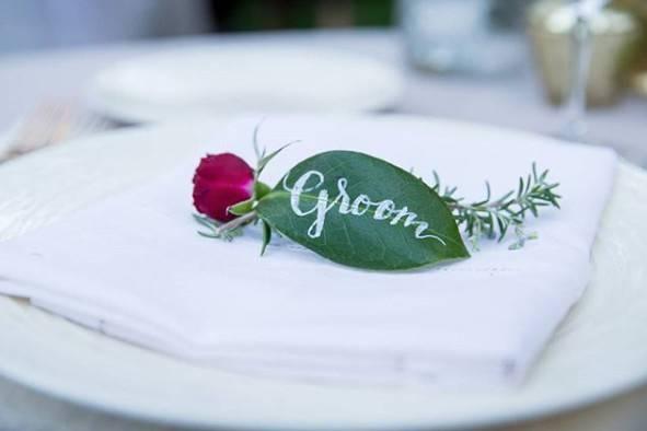 Groom leaf place card