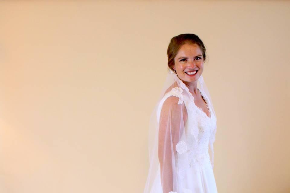 Catherine's custom gown using silk gauze over Silk Hemp and new and heirloom alencon lace