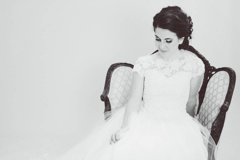 Maureen's custom gown with illusion neckline using heirloom and new french laces, silk and tulle skirt