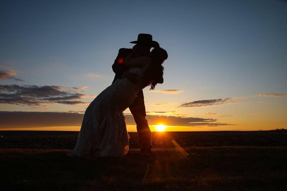 Kansas Sunset Wedding Day