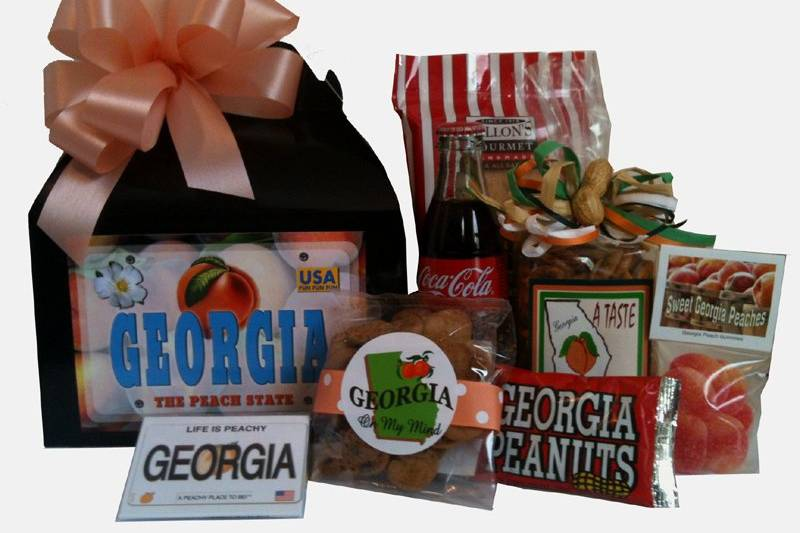 This Georgia Welcome Basket includes our best Georgia goodies, Coke and souvenir magnet.  The perfect way to say