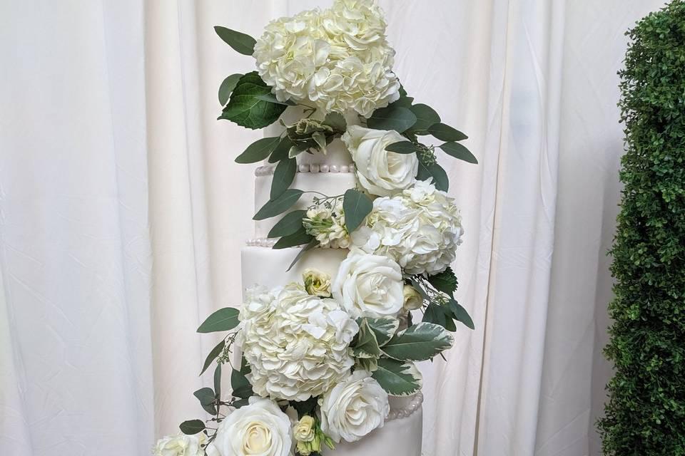 Cascading cake florals