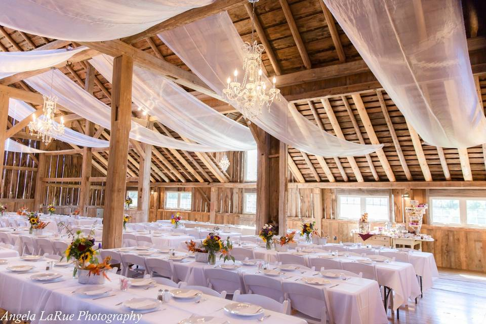 Decorated barn tables