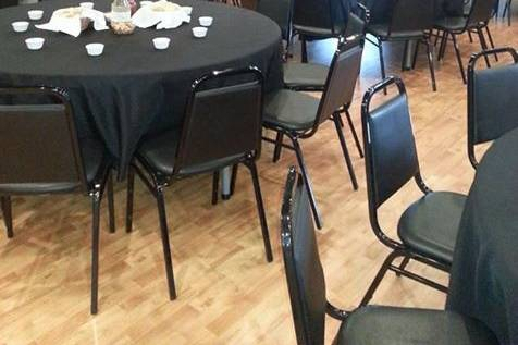 Black reception tables