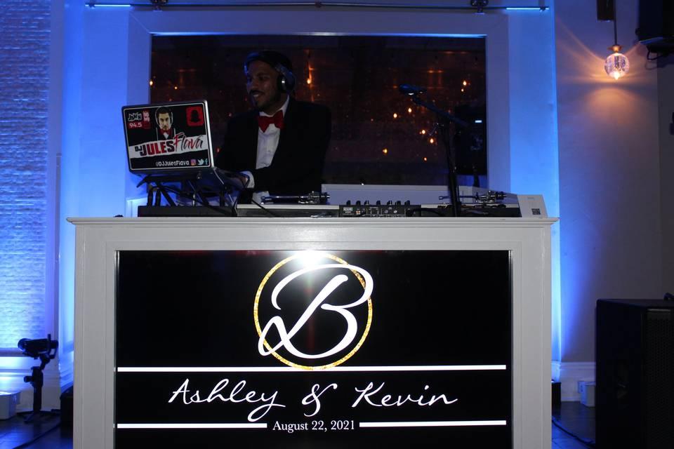 DJ Booth with Custom Monogram!