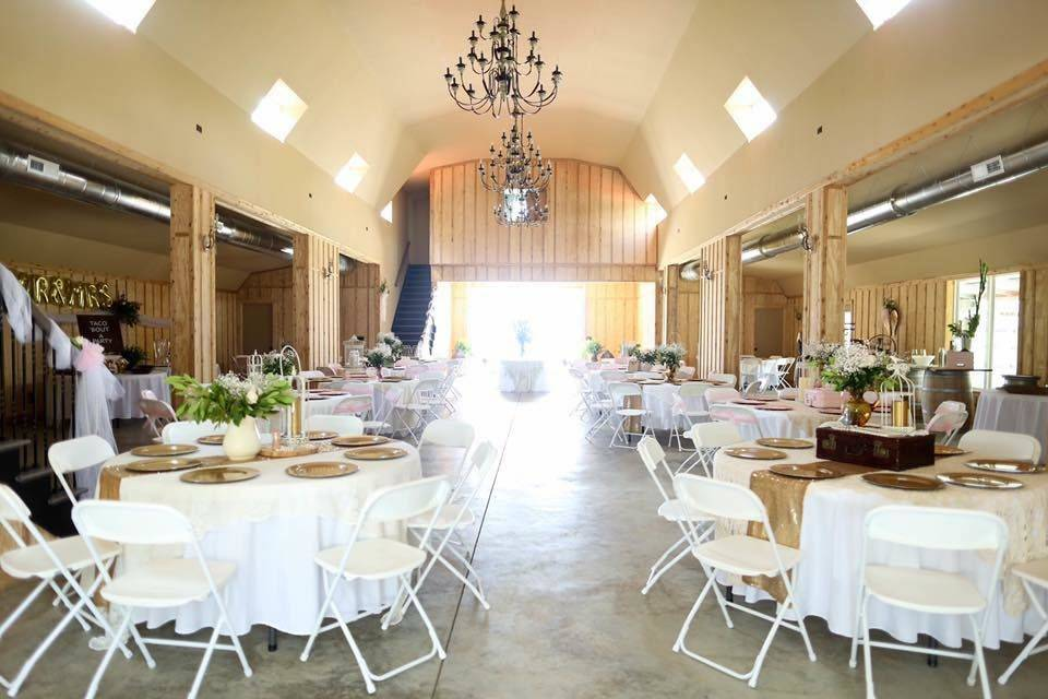 White and gold reception setup