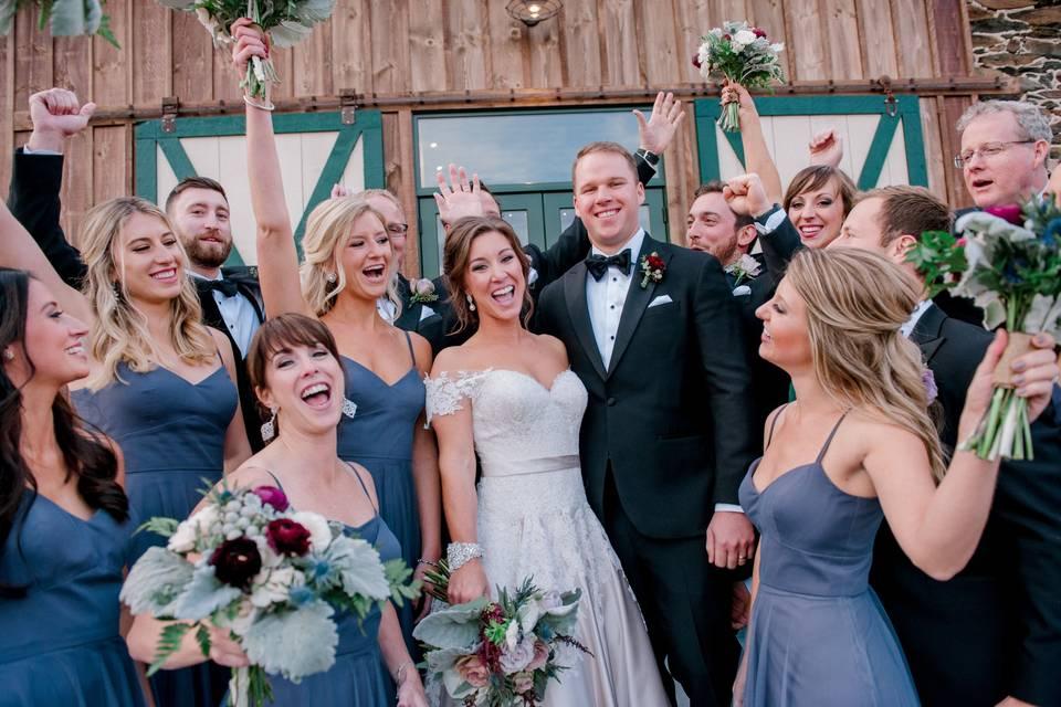 Gorgeous wedding party at Kalero Vineyard, loudoun county. Hair by Jenny's Salon Purcellville.