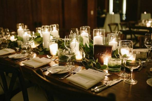 Long table setup with candle centerpiece
